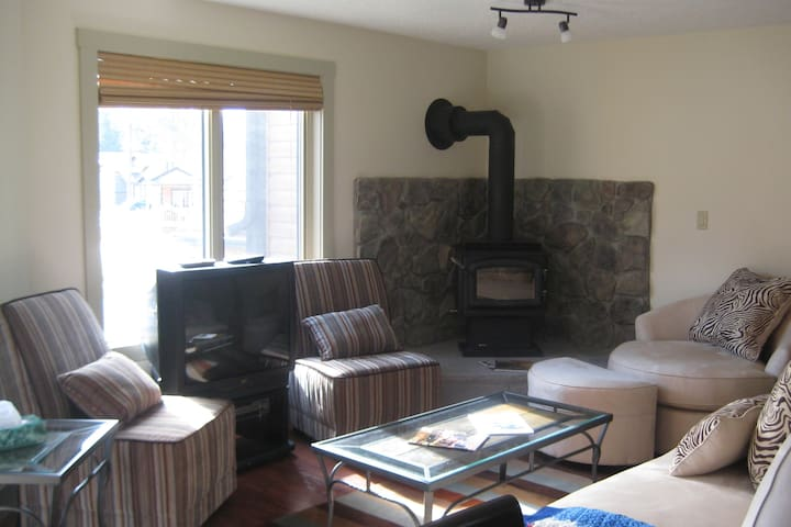 Cozy living room with wood burning stove