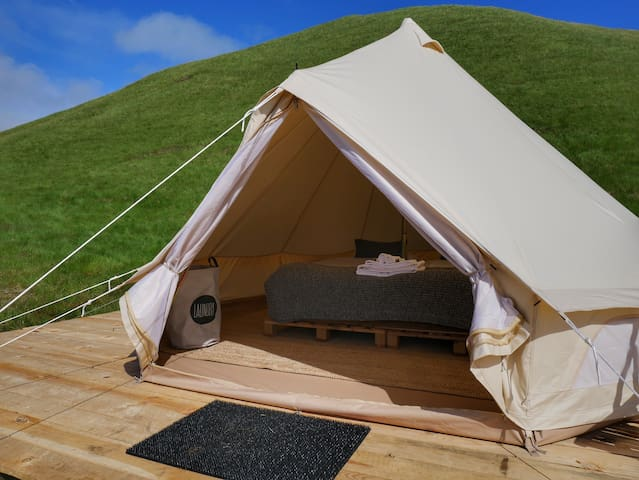 This is the Glamping tent on a nice summer day.