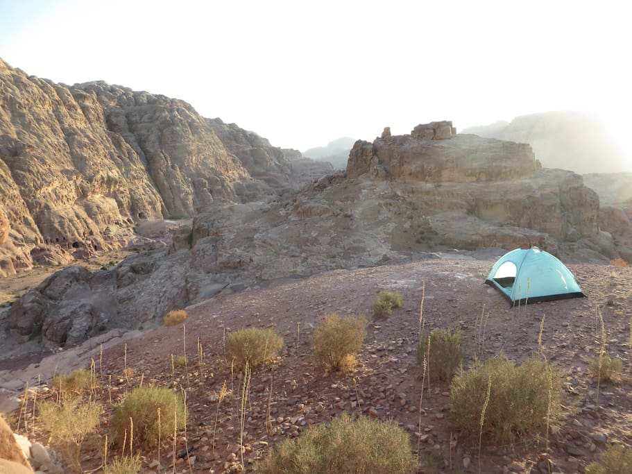Open camp in Petra; small tents provided.