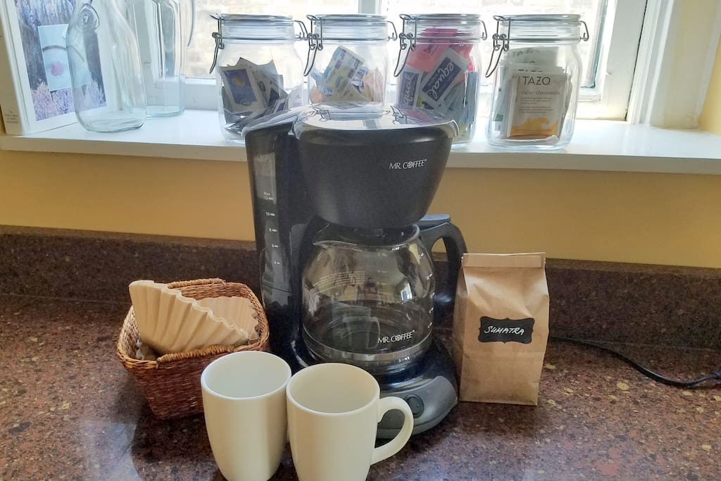 Complimentary Fresh Ground Coffee, TAZO Tea, Sugar, Sweeteners, Artificial Creamer