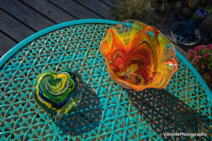 Glass pieces that one of our guests blew at Jennifer Sears Glass Studio here in town. (She also blew a float but that got shipped before I took this photo.)