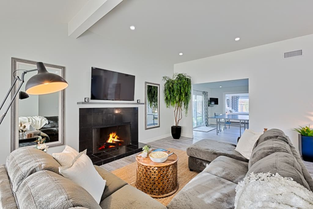 A fireplace and a large flat screen TV make this a perfect place to relax, reconnect, and recharge in between your various excursions and adventures.