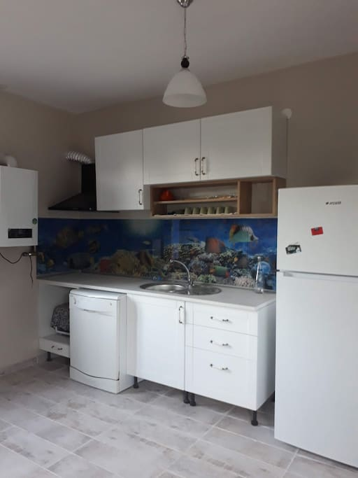 Kitchen with dishwasher. There is also and oven and cooker, dont worry!