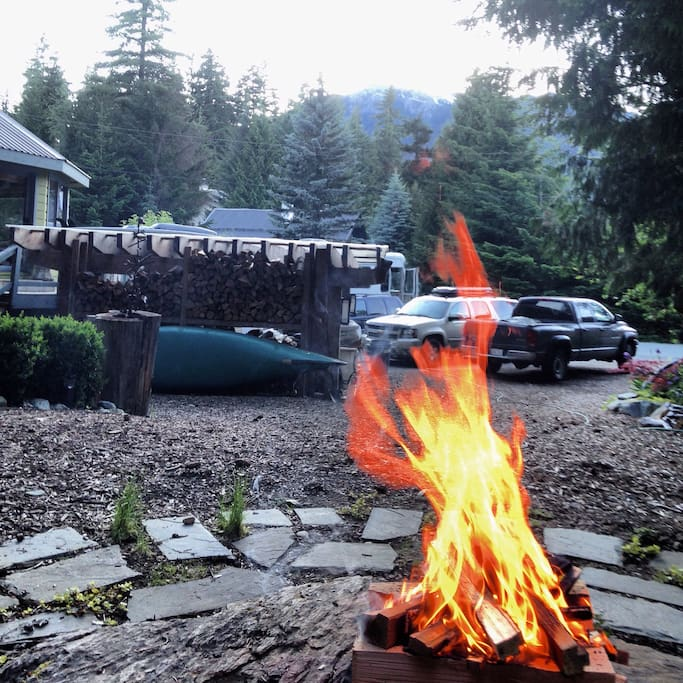 View of parking from outdoor fire pit
