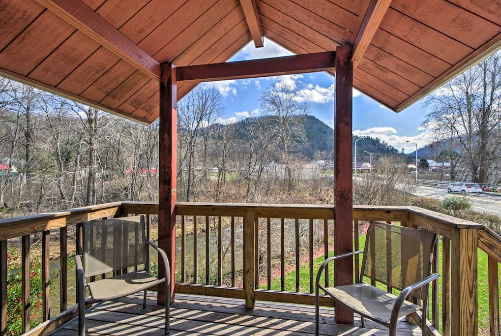 Enjoy scenic views from the deck with a cool drink in hand.