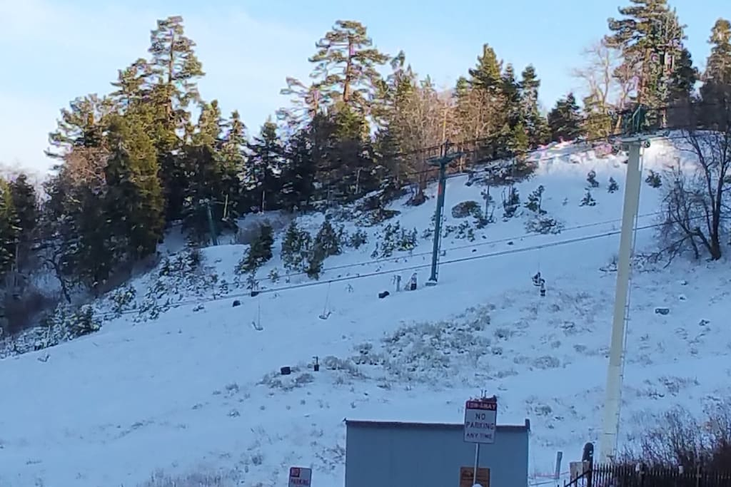 VIEW OF SKI SLOPES FROM CABIN