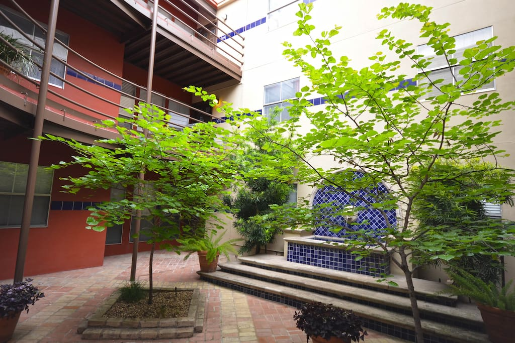 One of the relaxing courtyards in the complex.