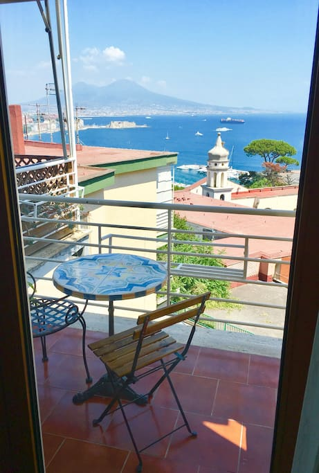Balcony wi g stunning sea and Vesuvius view from the double bedroom