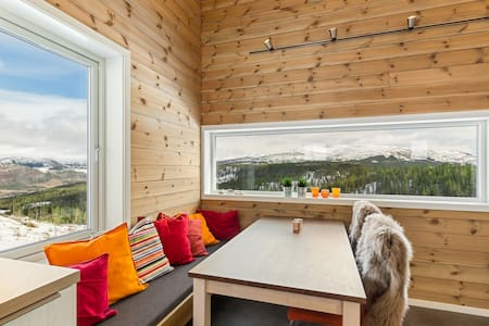 Modern mountain lodge with a beautiful view