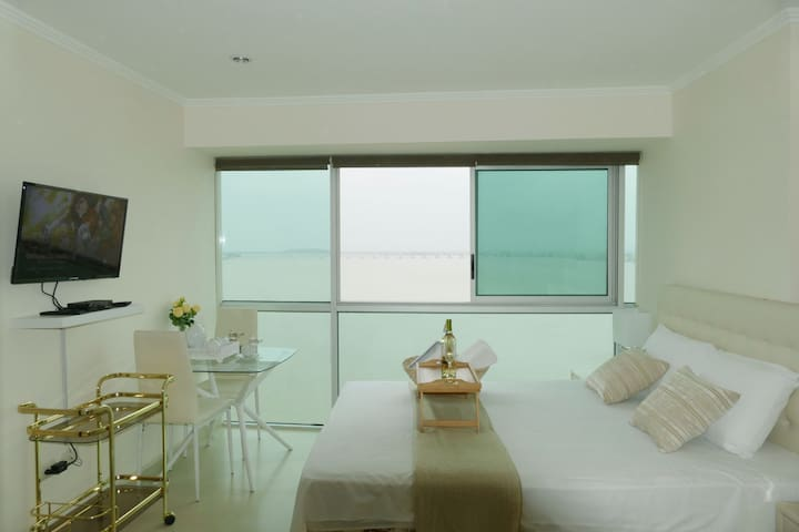 Atencion Alejandro M +593968539997 . Private Room in Penthouse with beautiful view of the river. Independent Entrance. Private bathroom, dining room, minibar, accessories to serve your meals. Building Riverfront, next to Hotel Wyndham.