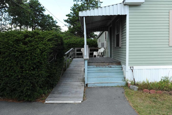 Ramp up to deck and level entryway