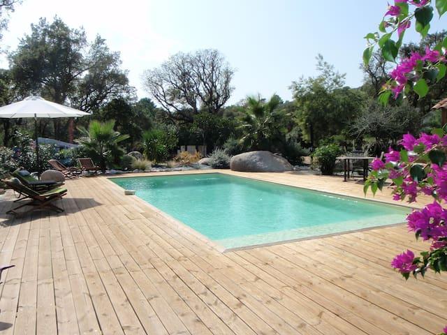 Maison individuelle, climatisée, avec piscine. - Zonza - Rumah