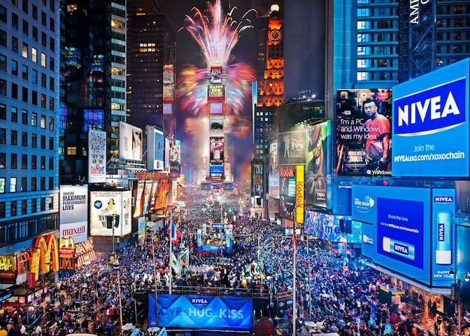 Time Square ball drop awesome room for 2