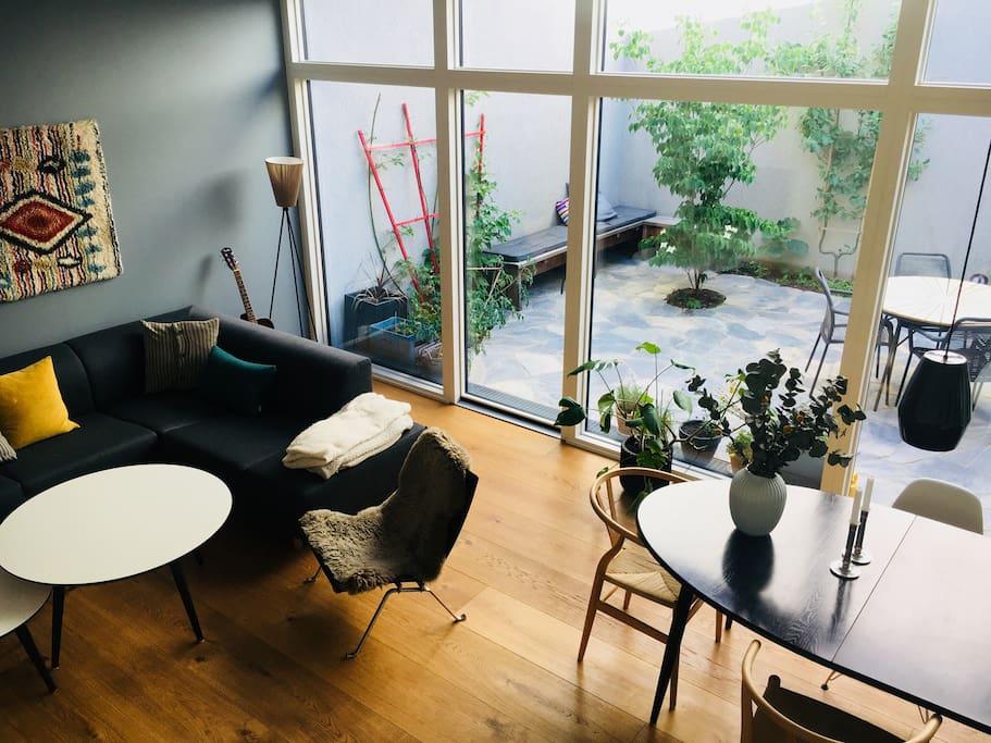 Living room and atrium garden.
