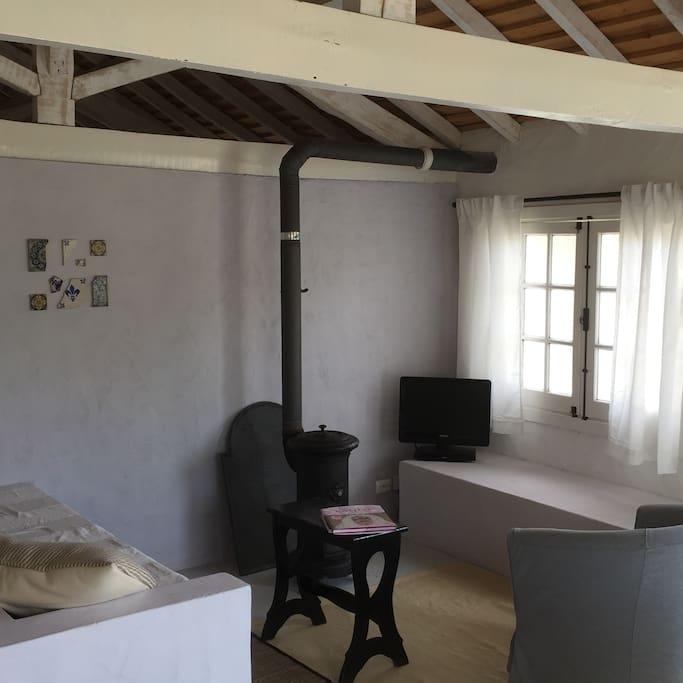 Livingroom with wooden stove (nov.-apr.)