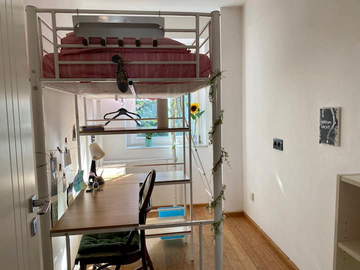 Single room with a bunk bed