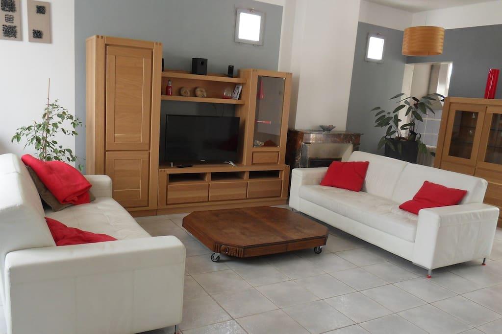 salon spacieux avec TV et coin bureau