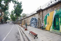 The painting road nearby (700m) - an amazing cultural spot of Hanoi