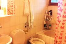 baño completo, luminoso, ventilado. (full, light and airy bathroom)