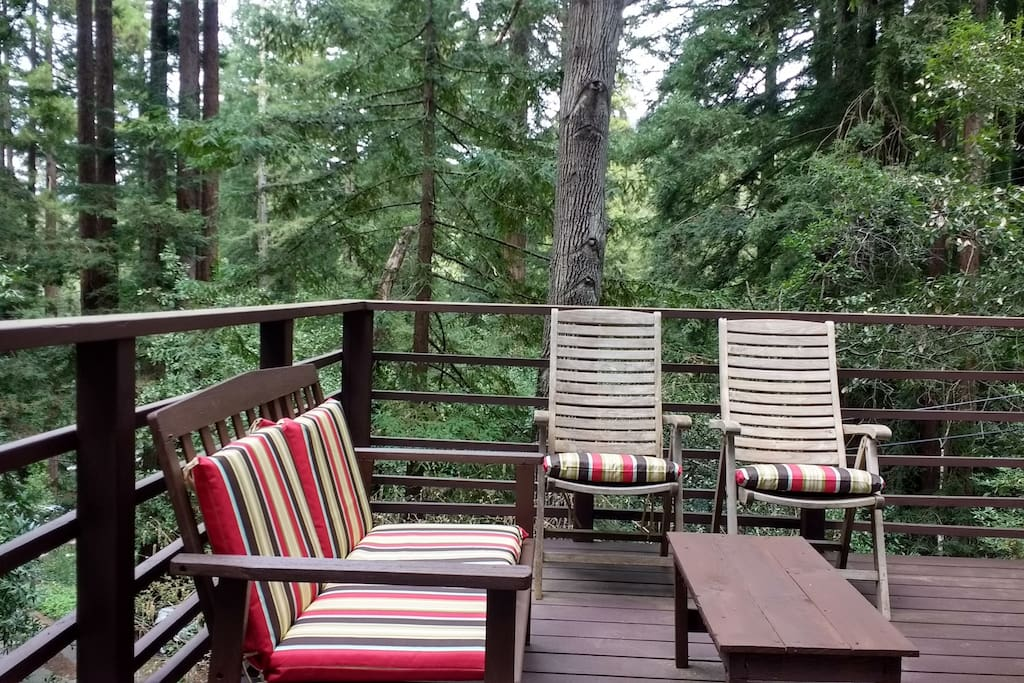 Private Deck - surrounded by towering redwoods