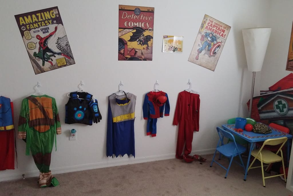 Super hero decor. If you're three, you can also dress up like a super hero while you're here. Of course, if you're three, you aren't using Airbnb...