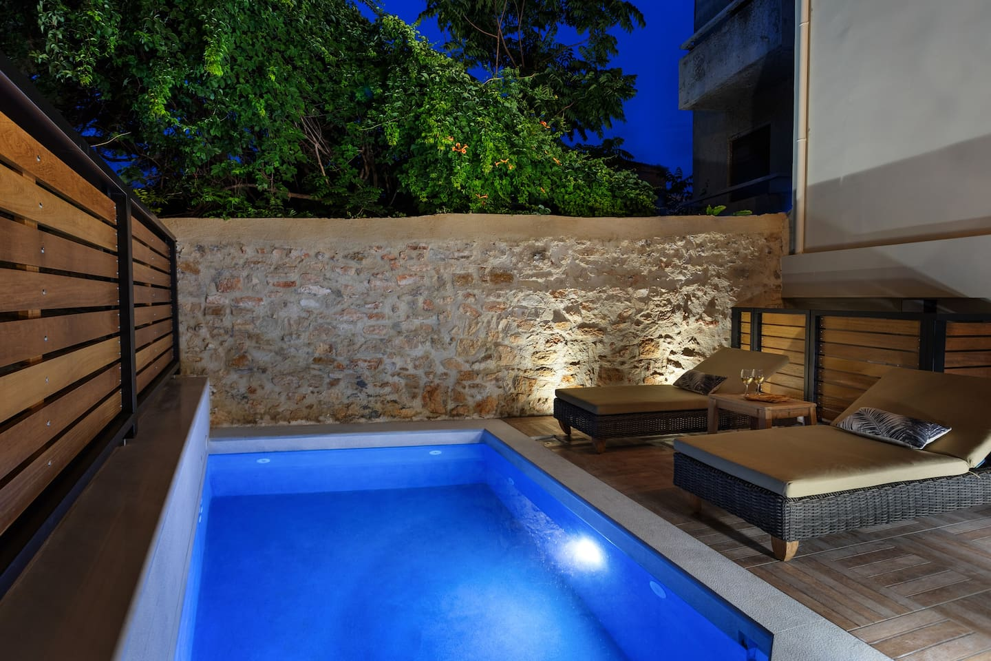 Private solar heated pool