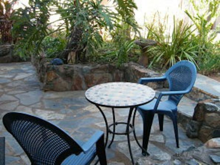 Your own area to sit outside and enjoy the lovely garden.
