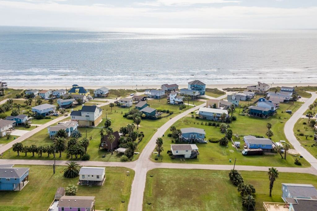 Arial view of the neighborhood taken from above beach house.