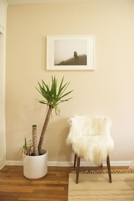 Reading corner with original photography by my husband.