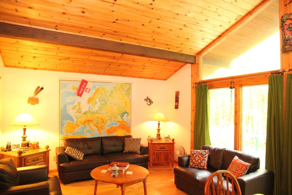 Living Room with Cathedral Ceilings - Leather Couches - Access to a large terrace