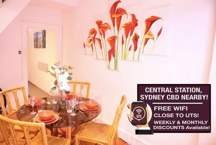 Cosy Art Terrace Home 8 min walk to Central