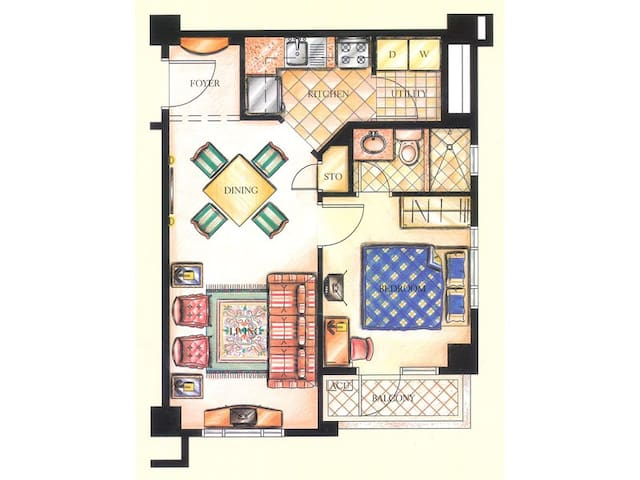 The Floor plan of the Unit. The Utility area features a walk-in pantry fully-stocked for your cooking needs.
