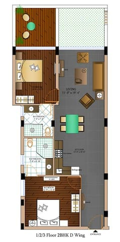 Layout of 2BHK