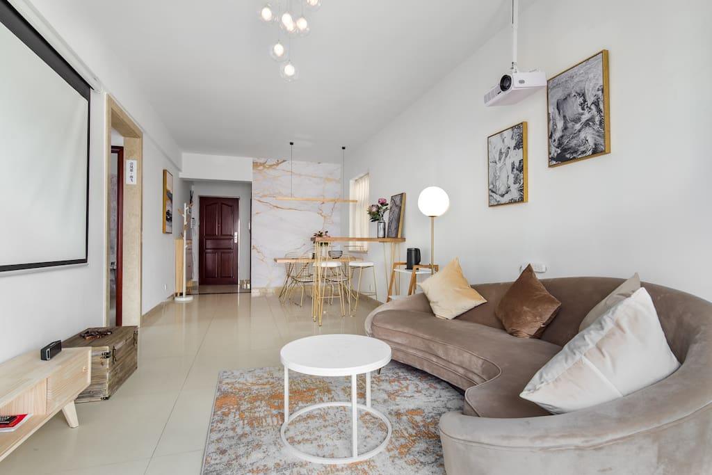 沙发落地灯吧台客厅 Living Room with Sofa、 Floor Lamp and Bar Counter