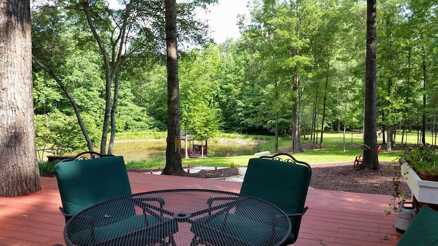 Back Deck with view of Pond