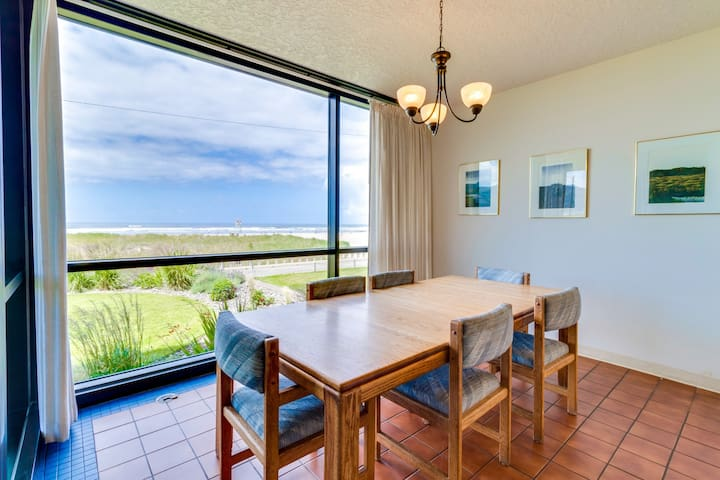First-floor, family-friendly, oceanfront escape w/ shared pool, steps from beach