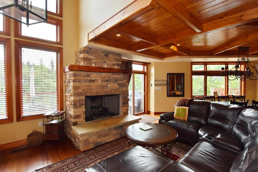 Family room with open gas fireplace