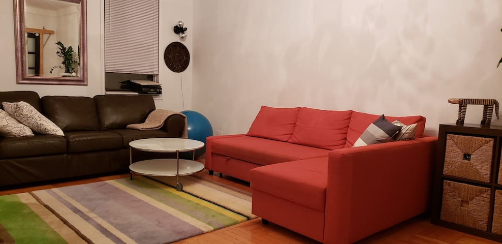 Queen size sofa bed in a living room