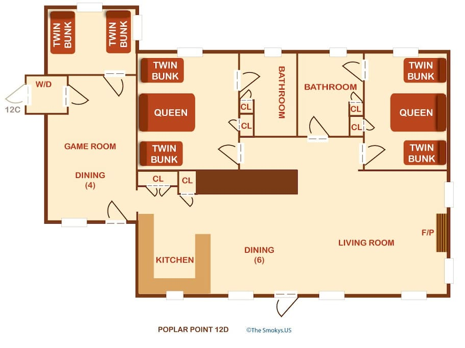 Poplar Point Condo Unit 12D-Floor Plan