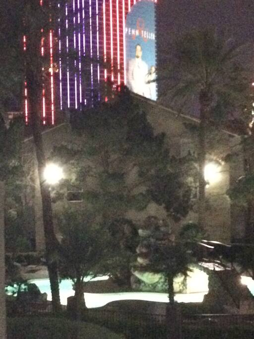 Night view from balcony towards the Rio and tropical fountain pool.