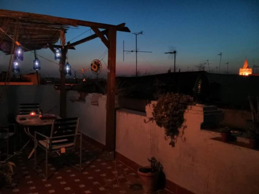 The terrace that offers the view on spectacular sunsets we get in Seville.