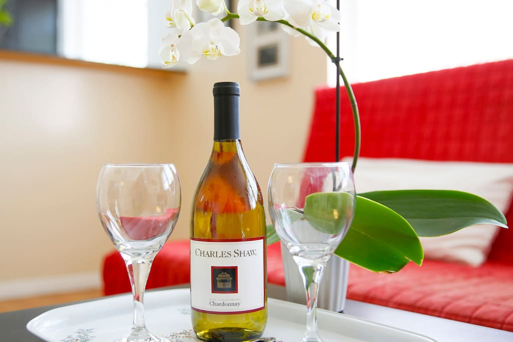 A complementary bottle of Californian wine offered upon arrival.