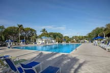 Recently renovated, tropical, heated pool and sun deck with chaise lounges, tables, chairs and umbrellas.