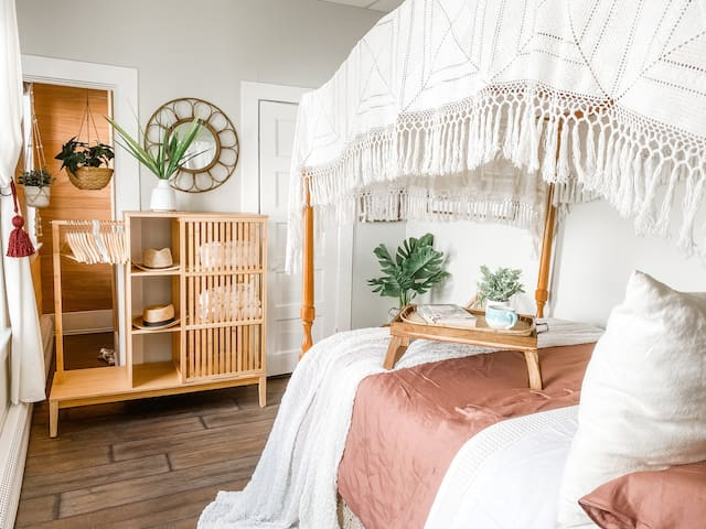 Super cozy bedroom. This full size bed is perfect for a good nights rest.