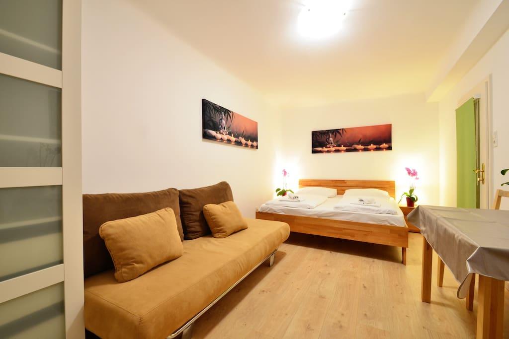 1st bedroom, doublebed & sofa bed