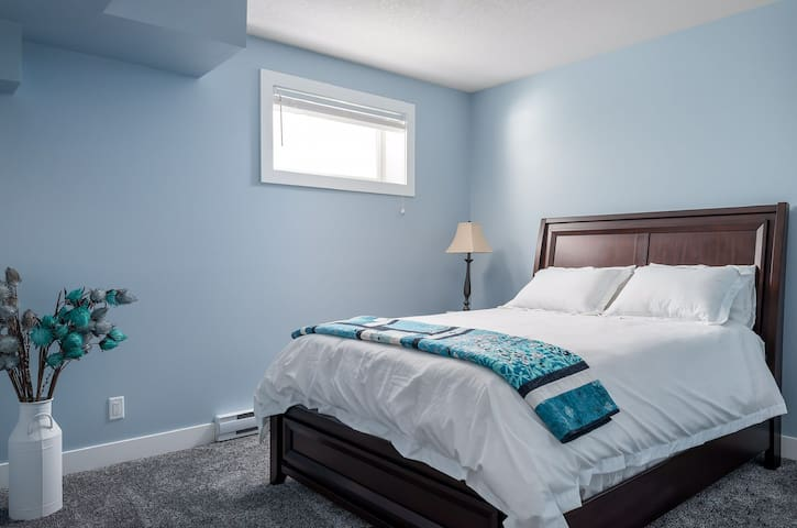 The second bedroom also comes with a queen size bed and a full sized closet. There is ample space in either room for a playpen or bassinet for a baby or toddler.  Coming soon will be a small desk and chair for your business needs.