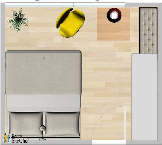 Plan over the entire room. On the right you will see a big closet with lots of space