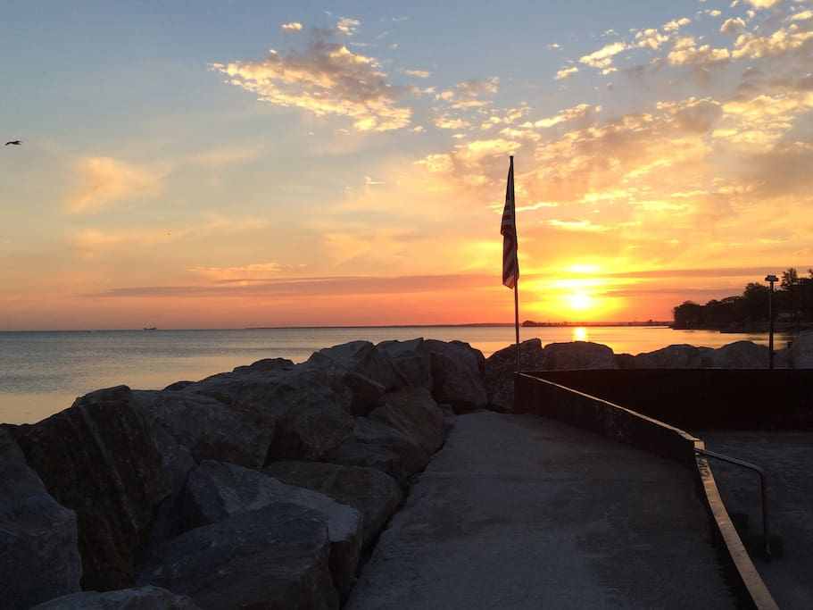 Sunrise, looking east.