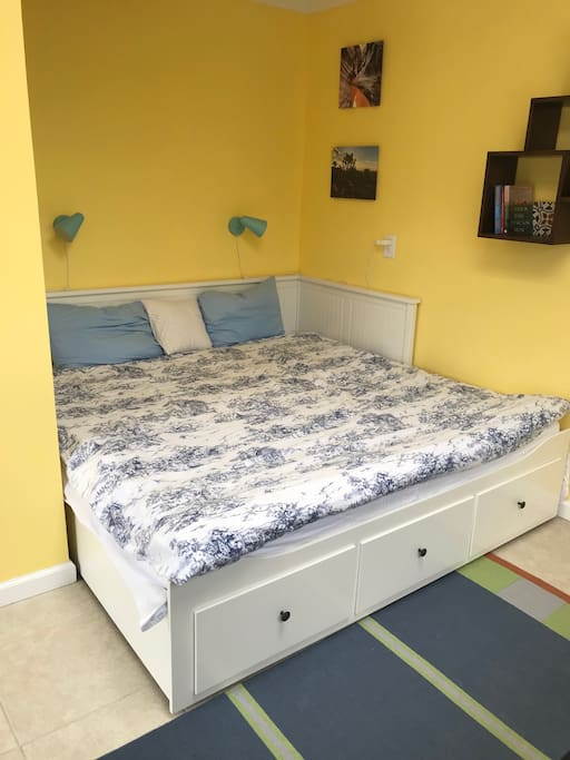 roomy, comfy queen size bed with storage