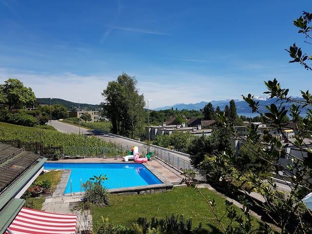 Sonnige Kunststube mit See- und Bergblick